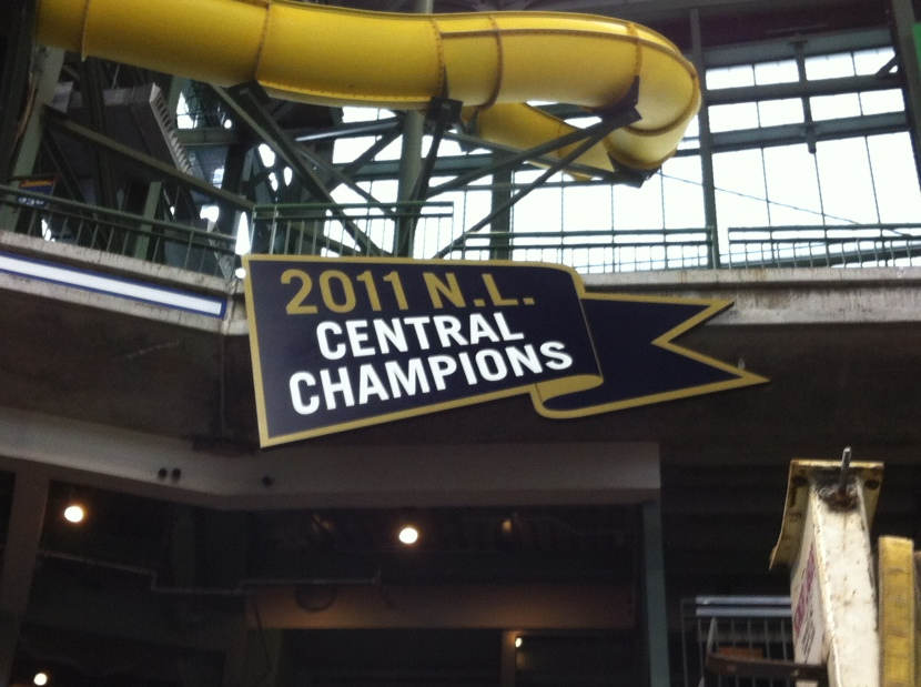 Milwaukee Brewers Hang National League Central Division Championship Banner