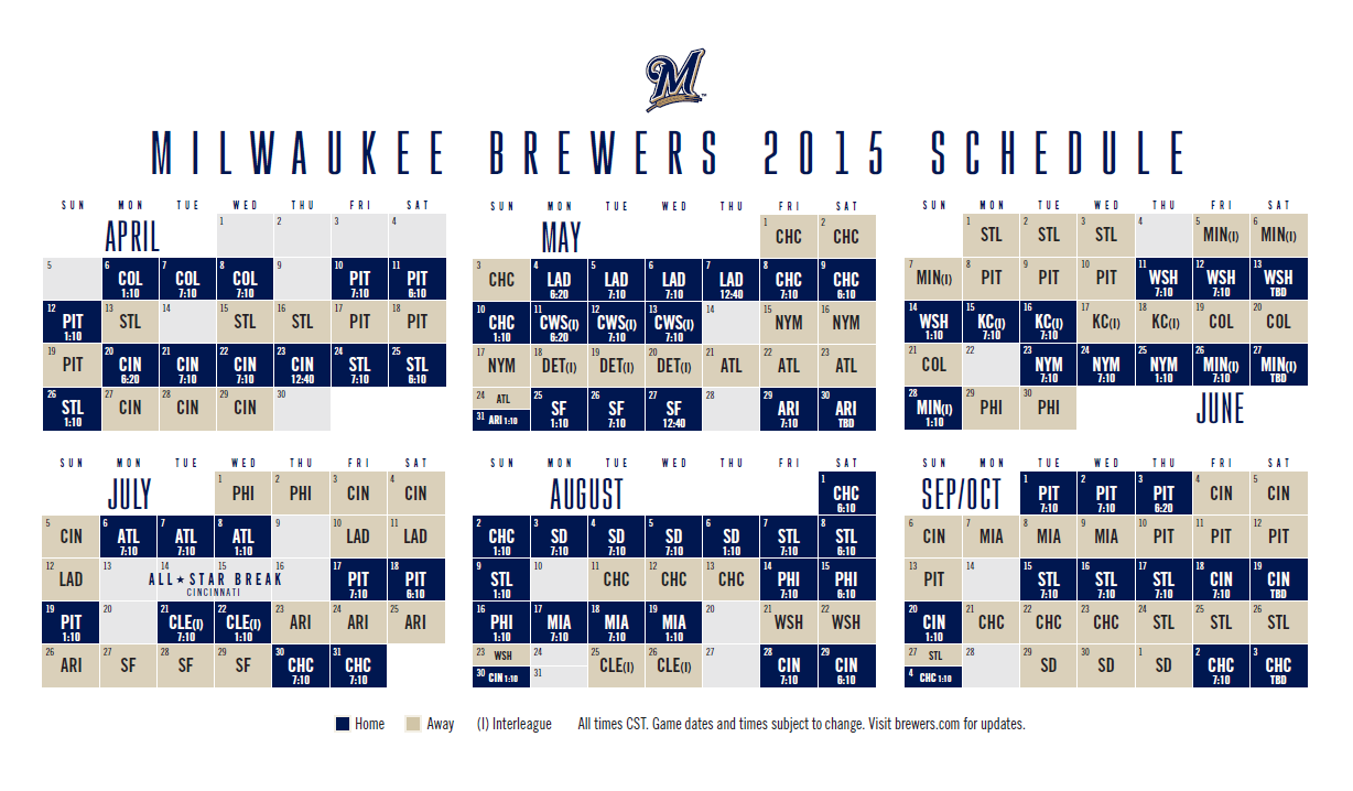Brewers 2020 Schedule Pdf Brewers Announce 2015 Season Schedule   The Brewer Nation