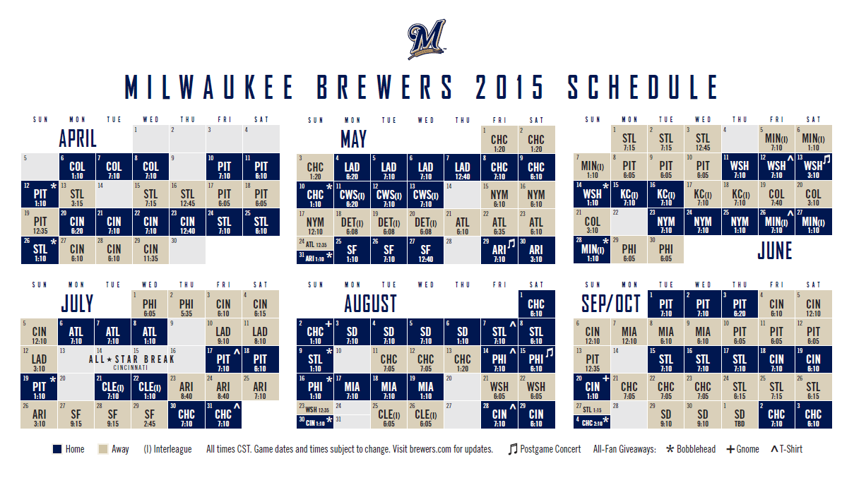 It is a graphic of Impeccable Printable Brewers Schedule
