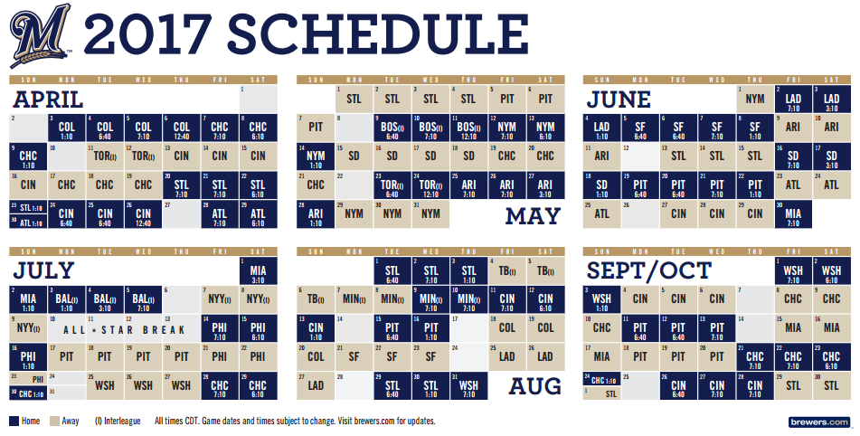 2017 Milwaukee Brewers Regular Season Schedule « The Brewer Nation